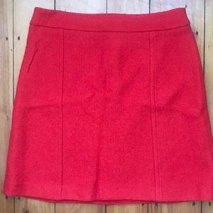 Ann Taylor Wool Blend Red Mini Skirt Size 8